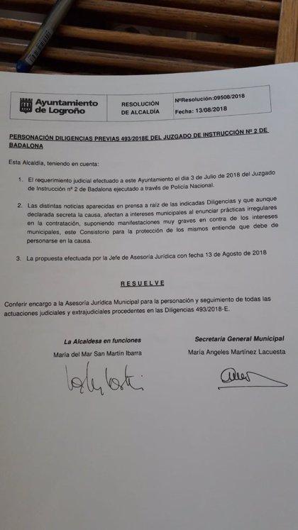El Ayuntamiento de Logroño se persona como acusación particular en el caso 'Enredadera'