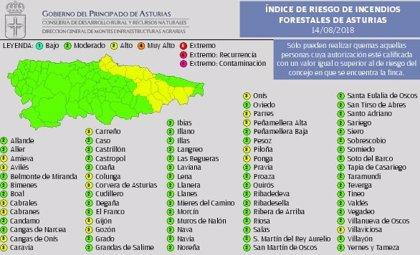 Un total de 17 municipios asturianos, están en riesgo 'alto' este martes por incendios forestales