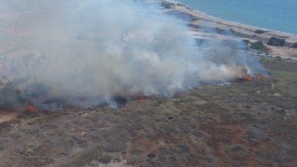 El incendio en la desembocadura del Andarax afecta a 1,5 hectáreas de matorral