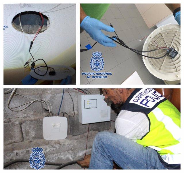 Imágenes de las videocámaras instaladas y del cableado conectado al router