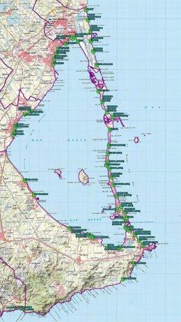Mapa playas aptas para el baño