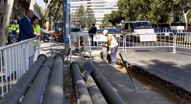 Obras del Canal de Isabel II en el distrito de Retiro