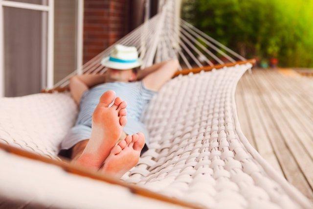 Siesta, hamaca, dormir, durmiendo, pies, relax, vacaciones, descanso