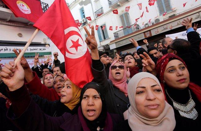 Manifestación de mujeres en Túnez