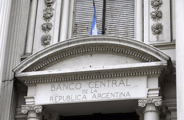 A view is seen of Argentina's Banco Central logo at its headquarters building in