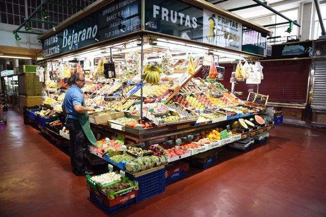 Mercado, frutas, verduras, carne, pescado, alimentos, comida