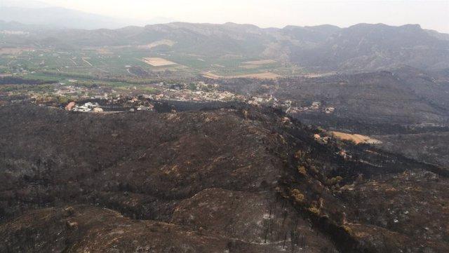 Zona quemada incendio Llutxent