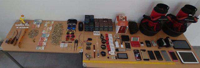 Objetos intervenidos por la Guardia Civil