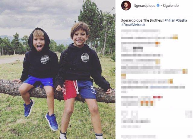 Gerard Piqué presume de lo mayores que están Sasha y Milan