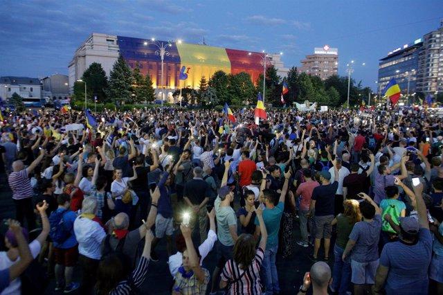 Manifestación Bucarest agosto