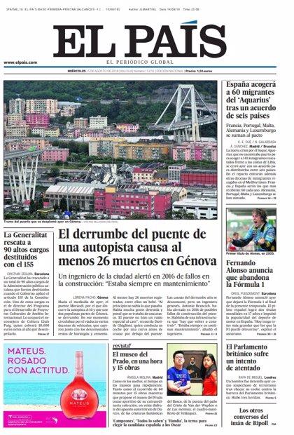 Las portadas de los periódicos del miércoles 15 de agosto de 2018