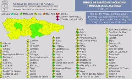 """La mayoría de municipios en Asturias en riesgo """"alto"""" de incendios este miércoles"""