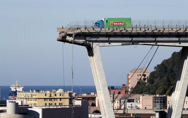 El puente Morandi derrumbado en Génova