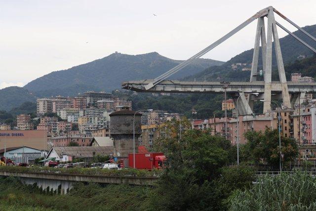 El puente derrumbado en Génova