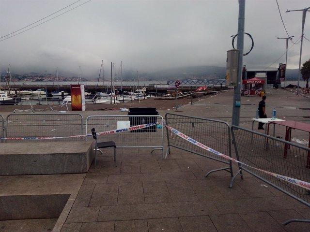 Zona en la que se derrumbó el puerto durante el festival O Marisquiño