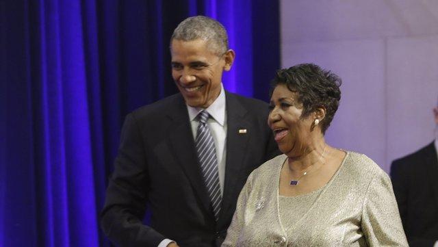 Barack Obama y Aretha Franklin