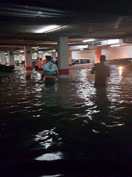 Garaje inundado por las lluvias registradas en Andalucía