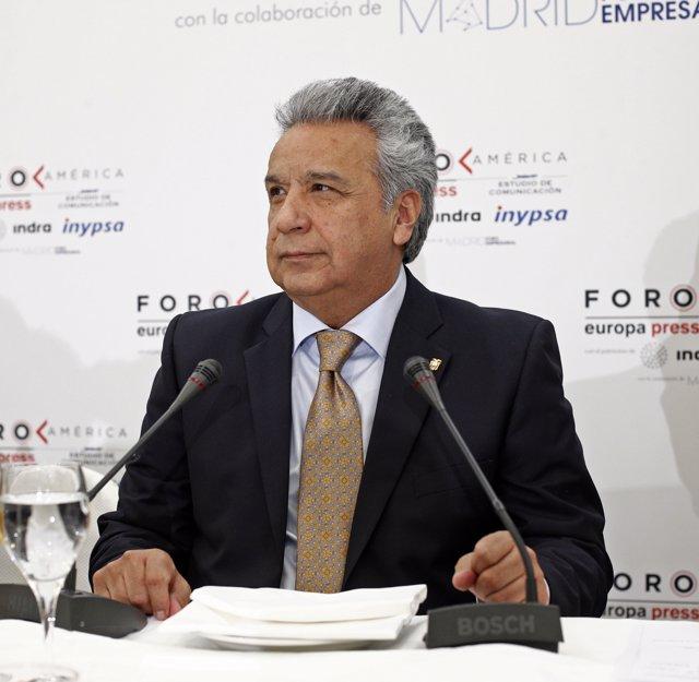 Lenín Moreno protagoniza el desayuno informativo de foro América de Europa Press