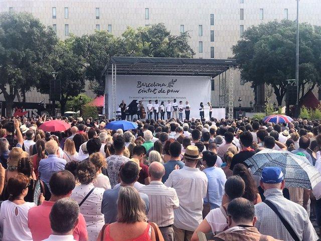 Acto del I aniversario de los atentados yihadistas en Catalunya
