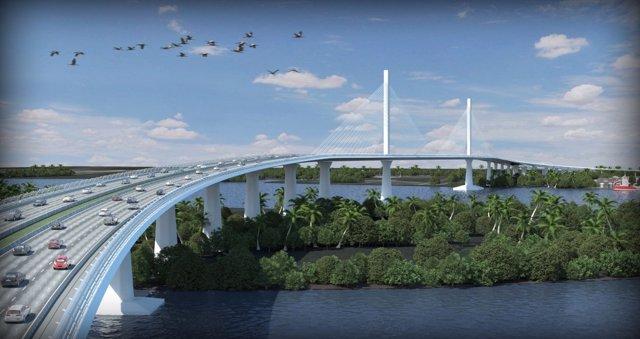 Puente que Sacyr construye en Colombia