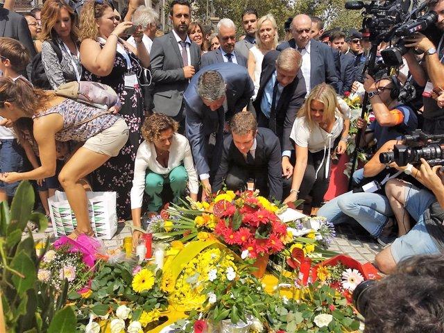 Ofrenda del PP en el 1r año de los atentados yihadistas en Catalunya