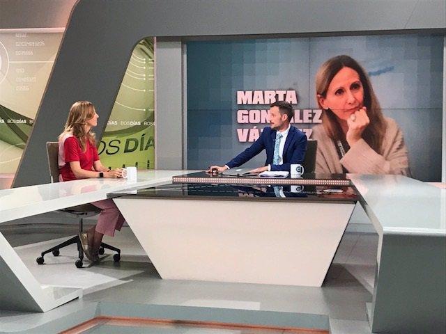 La vicesecretaria de comunicación del PP, Marta González, en una entrevista