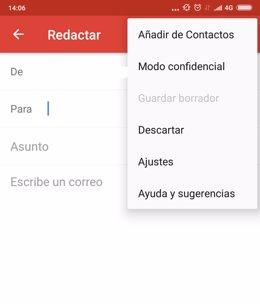 Captura app Gmail, modo confidencial