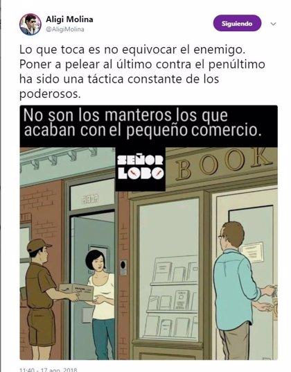 Pimeco exige a Aligi Molina que se disculpe por 'comparar la venta ambulante ilegal con comerciantes que cumplen la ley'