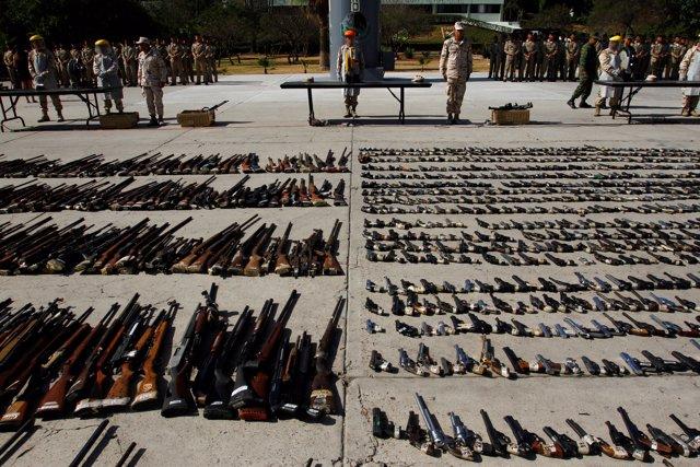 Armas de grupos criminales incautadas en México