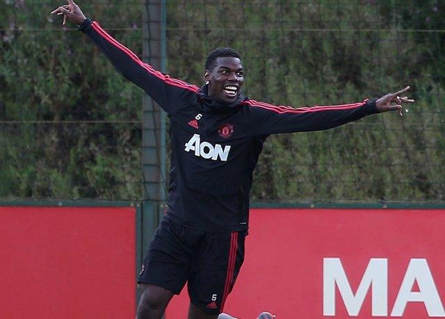 Pogba, en un entrenamiento del Manchester United.