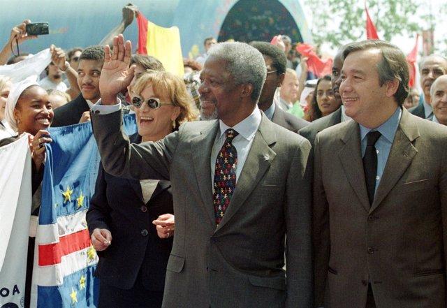 Kofi Annan y António Guterres