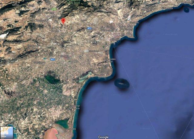Vista satélite del municipio de Monforte del Cid
