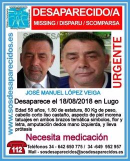 Alerta de desaparición de un hombre de 58 años en Lugo