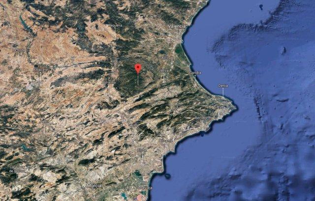 Vista satélite de Enguera
