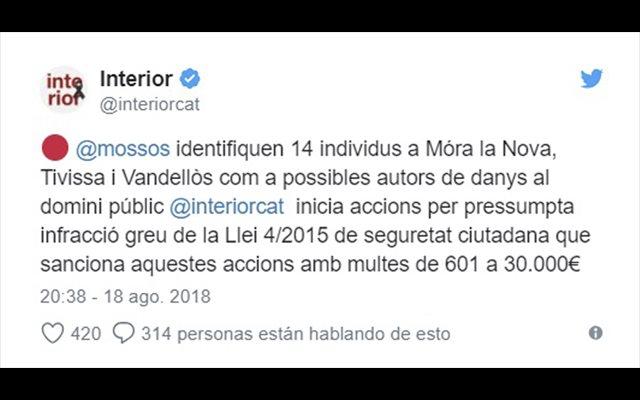 Identificadas 14 personas por arrancar lazos en varios municipios de Tarragona