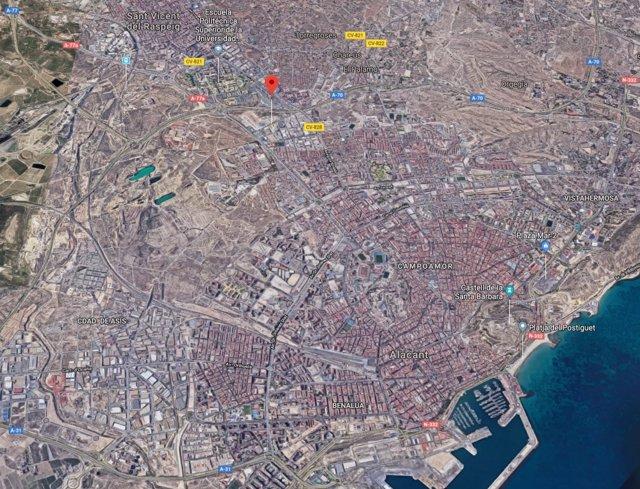 Localización de la calle Xàtiva de Alicante