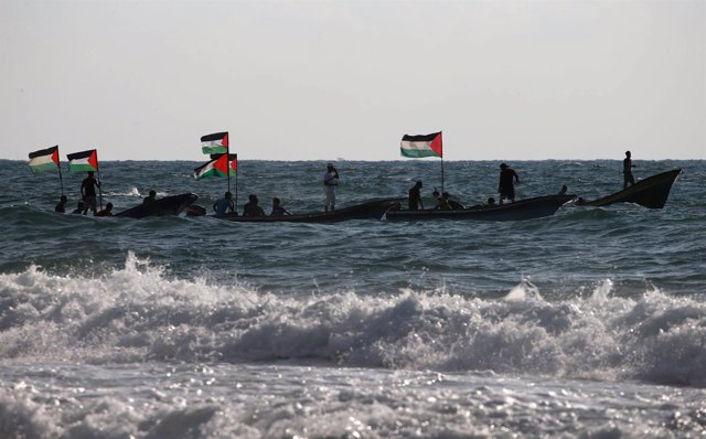 Flotilla palestina partiendo de Gaza para intentar romper el bloqueo israelí
