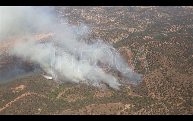 Unos 90 bomberos trabajan para extinguir el incendio de un paraje de El Ronquillo (Sevilla)