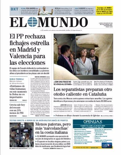 Las portadas de los periódicos del lunes 20 de agosto