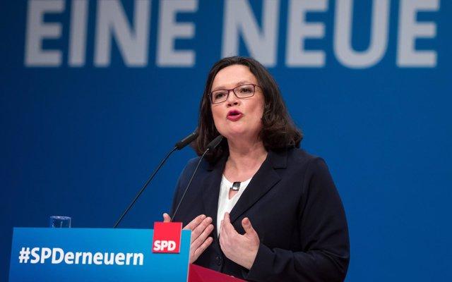 La líder del SPD hace un llamamiento contra el anti-europeísmo para las elecciones del Parlamento Europeo