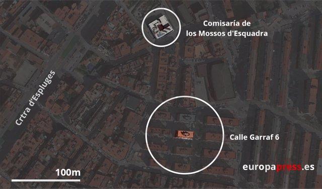 Mapa de localización de calle Garraf 6 en Cornellá de Llobregat, Barcelona
