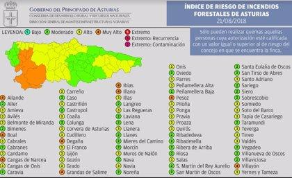 Riesgo 'muy alto' por incendios forestales para este martes en nueve municipios asturianos