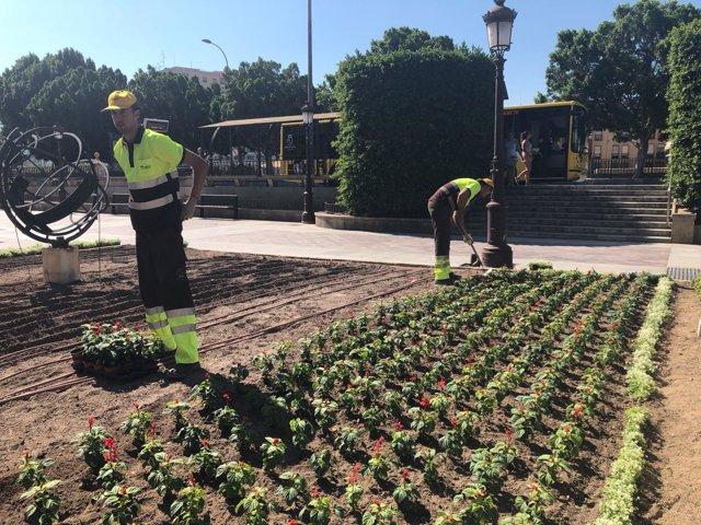 Imagen de las tareas de plantado de flores
