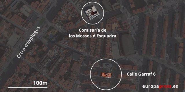 Mapa del ataque en Cornellá