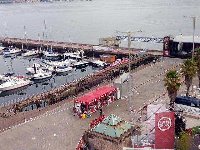 Zona afectada por el derrumbe durante el Festival O Marisquiño