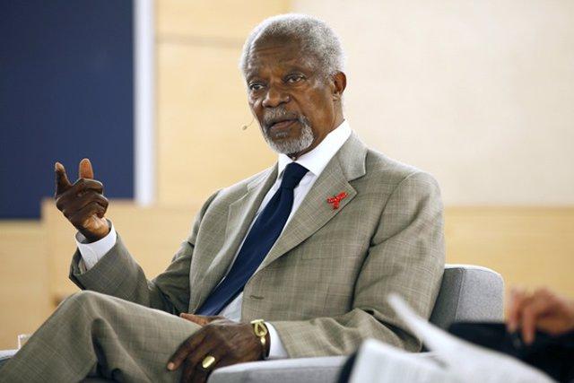 El ex secretario general de la ONU, Kofi Annan, en una conferencia sobre el sida