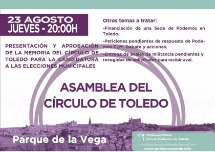 Círculo Podemos Toledo se reúne este jueves para avanzar en la candidatura municipal