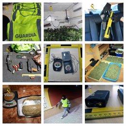 Imáganes de los chalecos, placas, armas y droga incautadas