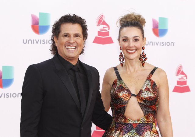 Singer Carlos Vives and his wife Claudia Elena Vasquez arrive at the 17th Annual