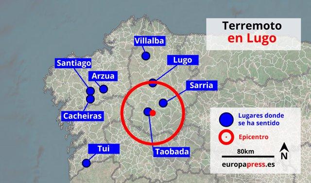 Zona del seísmo registrado en Galicia